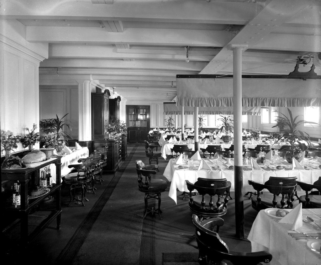 Detail of Second Class Dining Saloon on the 'Orama' (1911) by Bedford Lemere & Co.