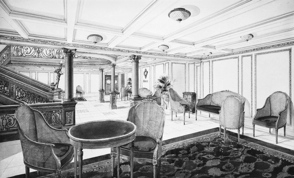 Detail of First Class Restaurant Reception Room on the 'Titanic' (1912) by Bedford Lemere & Co.