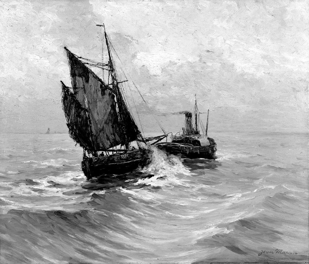 Detail of A tug towing a small sailing vessel by Bedford Lemere & Co.