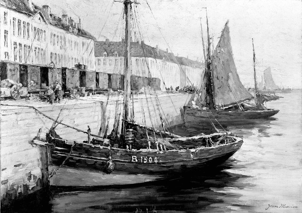Detail of Fishing boats alongside a quay by Bedford Lemere & Co.