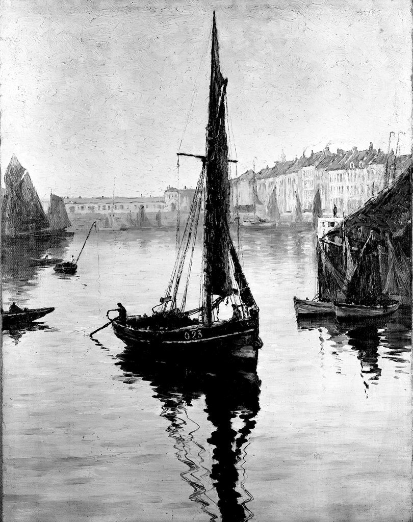 Detail of Harbour scene with fishing boats by Bedford Lemere & Co.