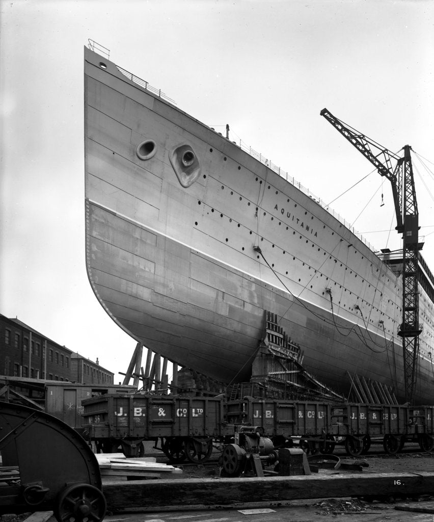 Detail of Bow view of the 'Aquitania' (1914) before launch by Bedford Lemere & Co.