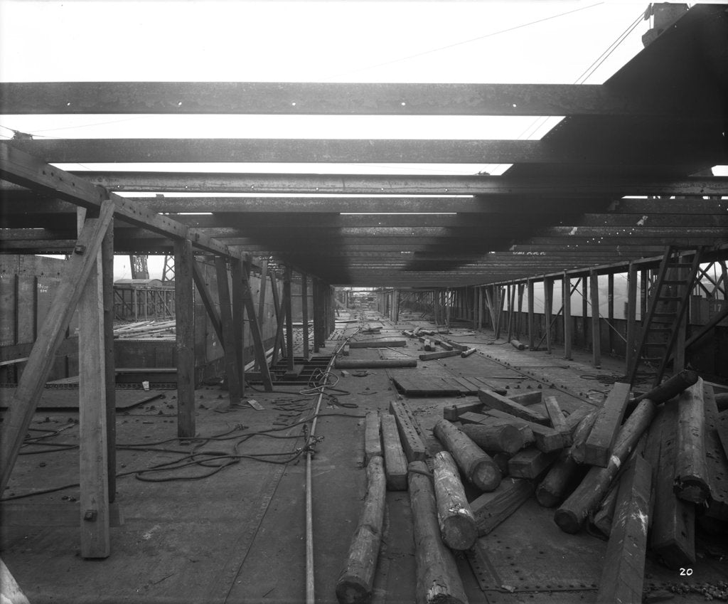 Detail of Promenade Deck of the 'Aquitania' (1914) during construction by Bedford Lemere & Co.