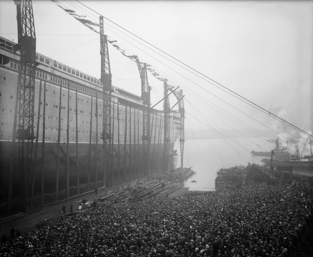 Detail of Aquitania' (1914) moving down the ways by Bedford Lemere & Co.
