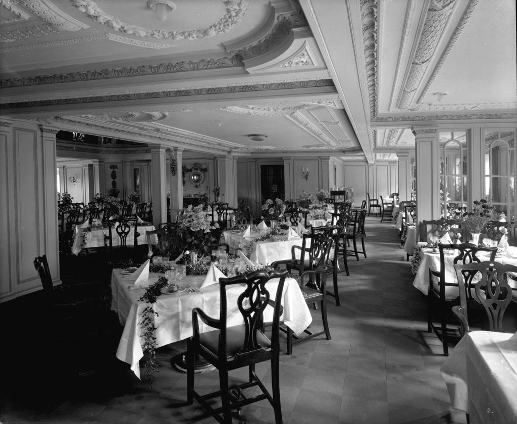 Detail of First Class Dining Saloon on the 'Empress of Asia' (1913) by Bedford Lemere & Co.