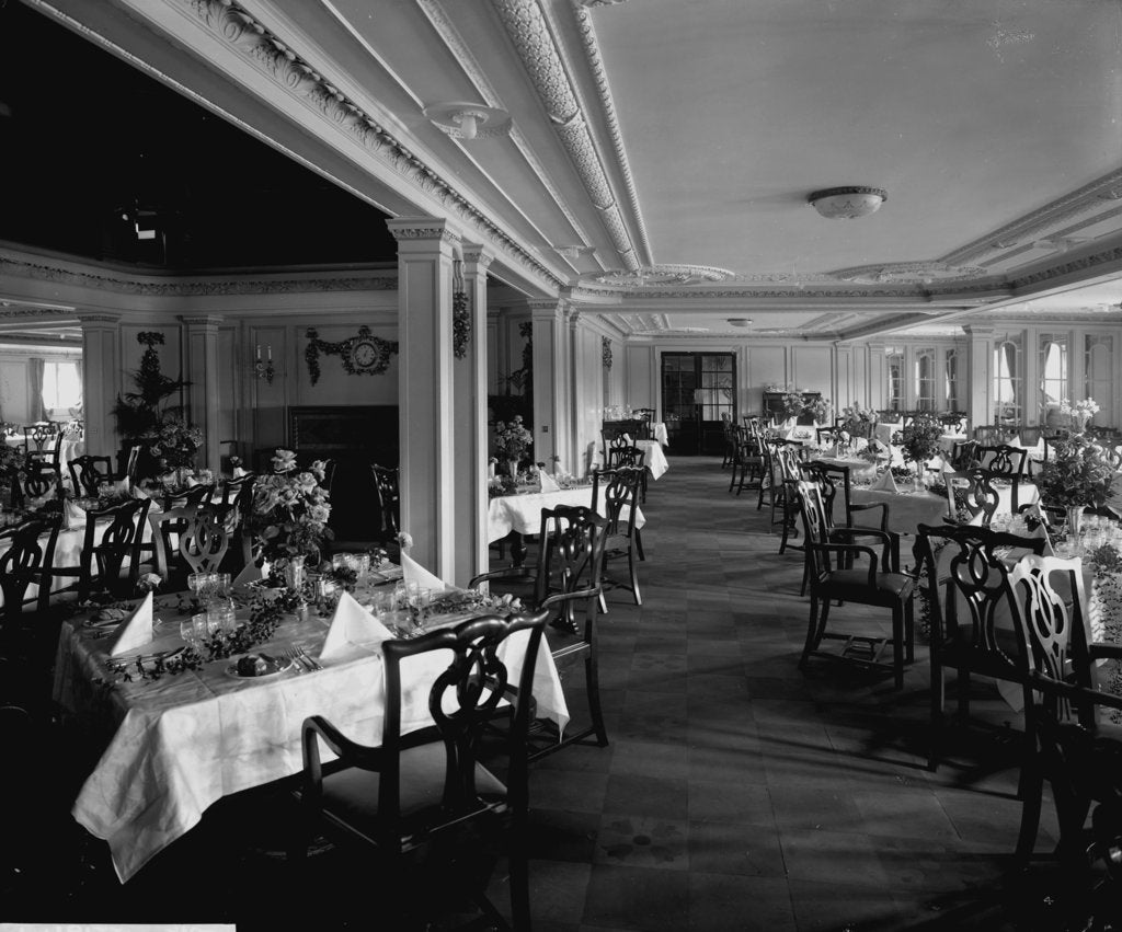 First Class Dining Saloon on the 'Empress of Asia' (1913) by Bedford Lemere & Co.