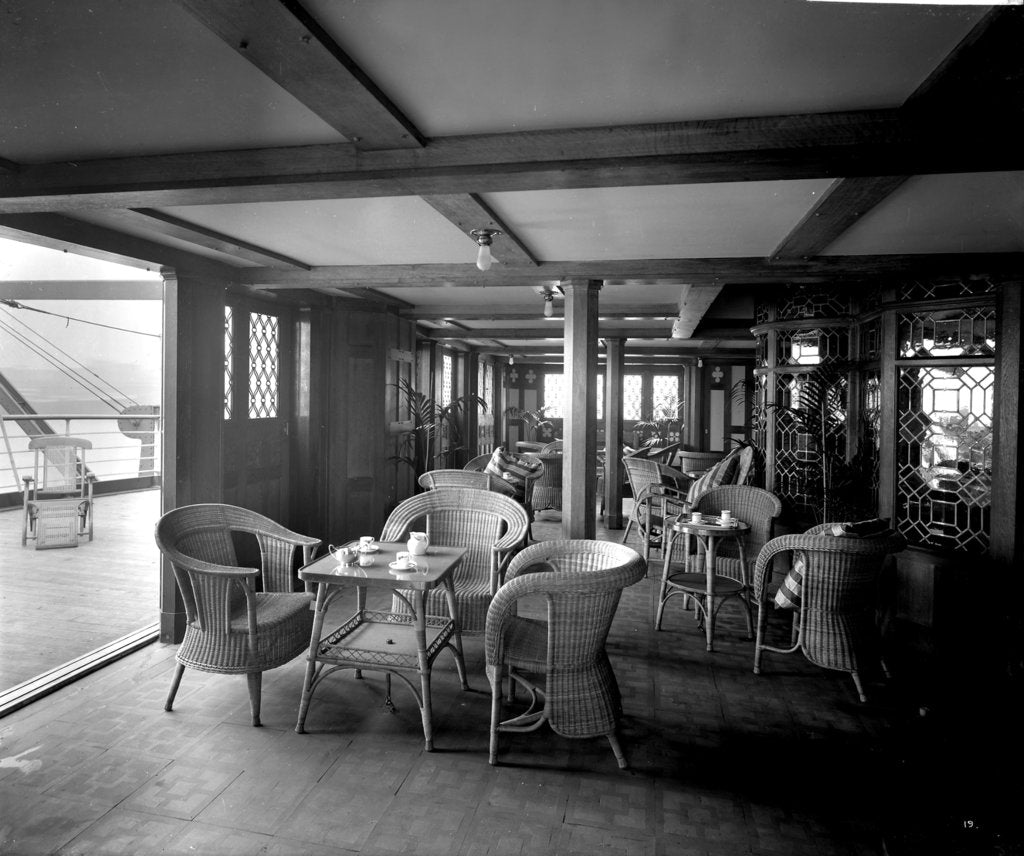 Detail of First Class Verandah Cafe on the 'Empress of Asia' (1913) by Bedford Lemere & Co.