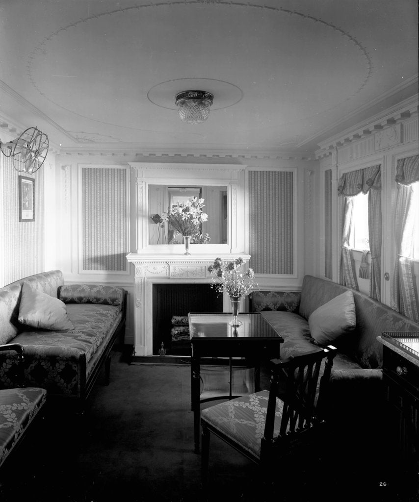 Detail of First Class suite on the 'Empress of Asia' (1913) by Bedford Lemere & Co.