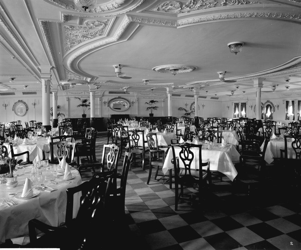 Detail of First Class Dining Saloon on the 'Llandovery Castle' (1914) by Bedford Lemere & Co.