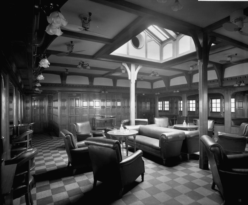Detail of First Class Smoking Room on the 'Llandovery Castle' (1914) by Bedford Lemere & Co.