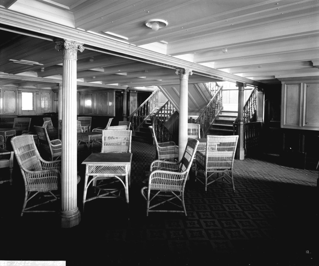 Detail of Second Class Lounge on the 'Orduna' (1914) by Bedford Lemere & Co.