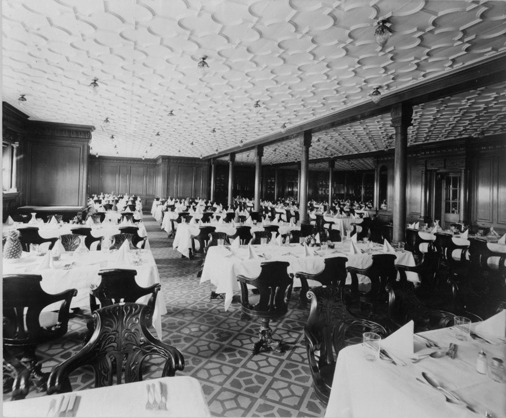 Detail of Second Class Dining Saloon on the 'Olympic' (1911) by Bedford Lemere & Co.