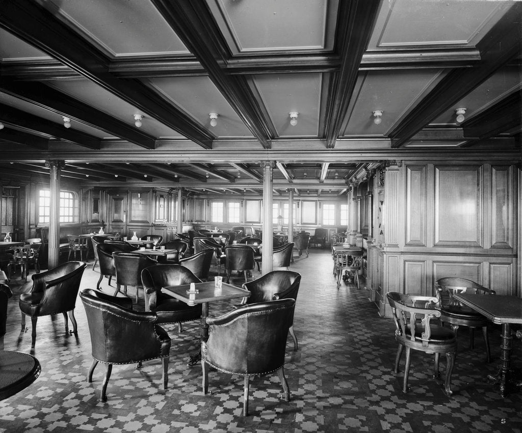 Detail of Second Class Smoking Room on the 'Olympic' (1911) by Bedford Lemere & Co.