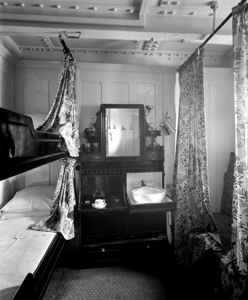 Detail of Second Class stateroom on the 'Olympic' (1911) by Bedford Lemere & Co.