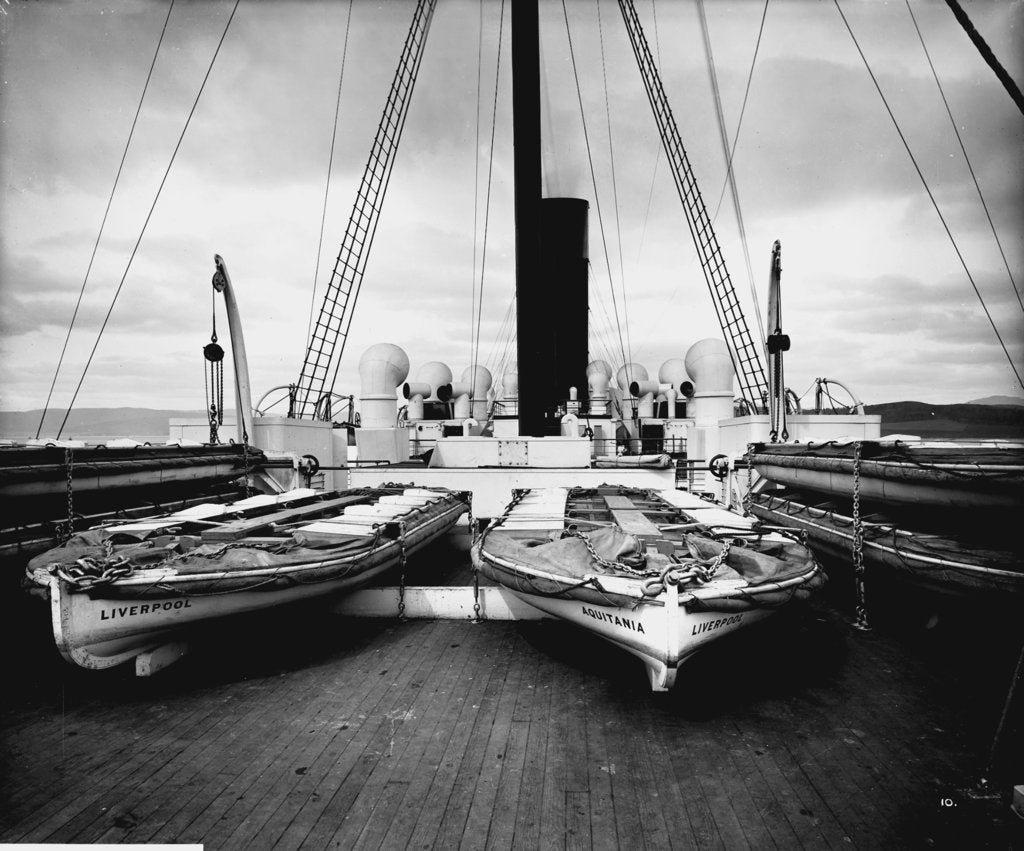 Detail of Boat Deck Aft on the 'Aquitania' (1914) by Bedford Lemere & Co.