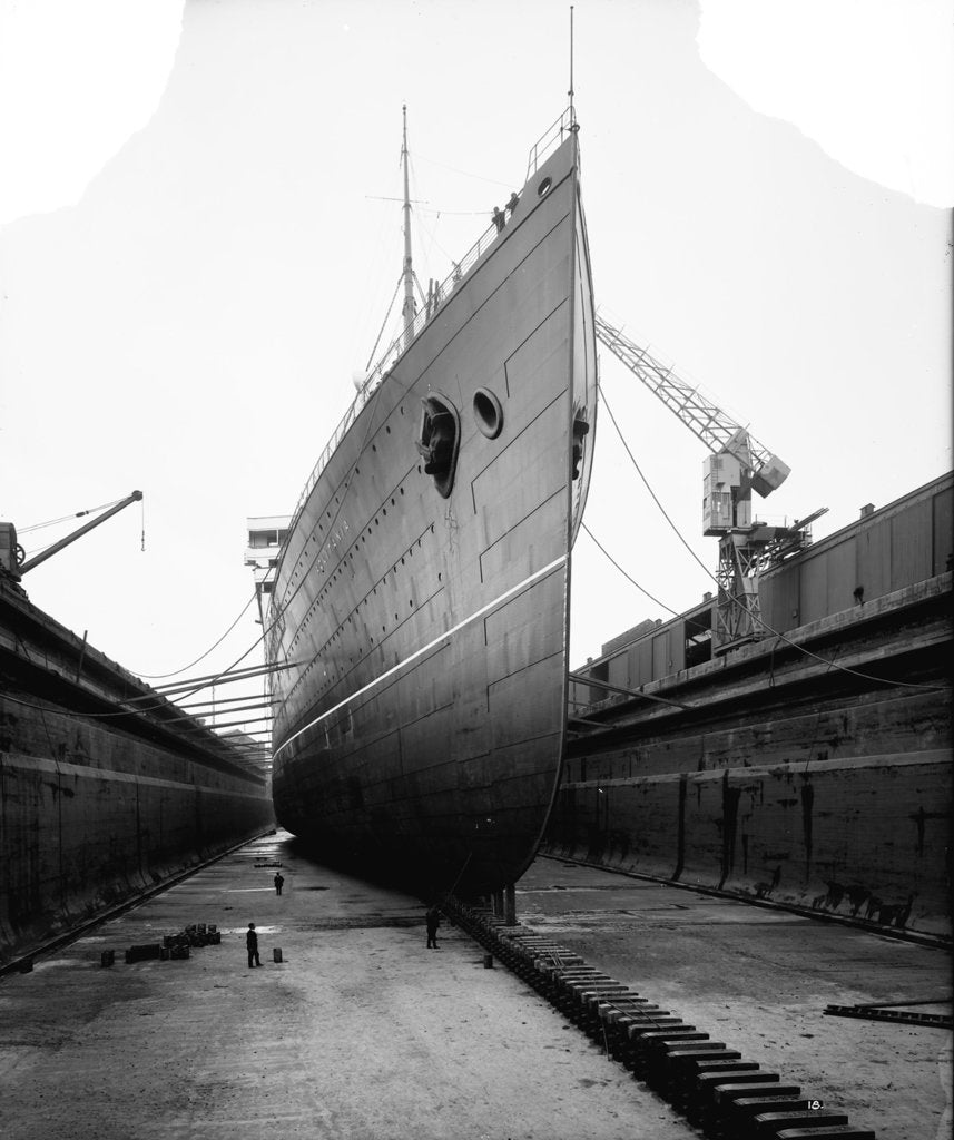 Bow view of the 'Aquitania' (1914) in drydock by Bedford Lemere & Co.
