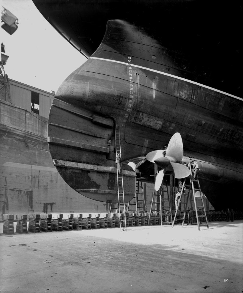 Detail of Rudder and inner propellers of the 'Aquitania' (1914) by Bedford Lemere & Co.