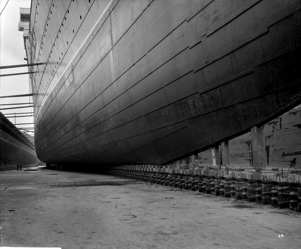 Detail of Bottom plating of the 'Aquitania' (1914) by Bedford Lemere & Co.