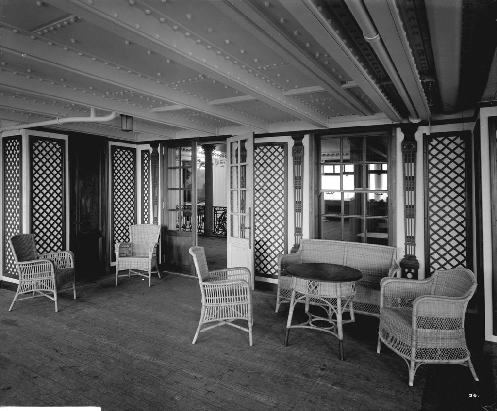 Detail of First Class Garden Lounge on the 'Aquitania' (1914) by Bedford Lemere & Co.
