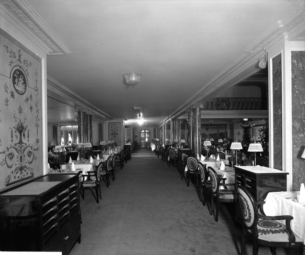 Detail of First Class Dining Saloon on the 'Aquitania' (1914) by Bedford Lemere & Co.