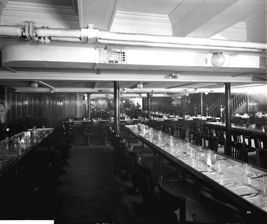 Third Class Dining Saloon on the 'Aquitania' (1914) by Bedford Lemere & Co.