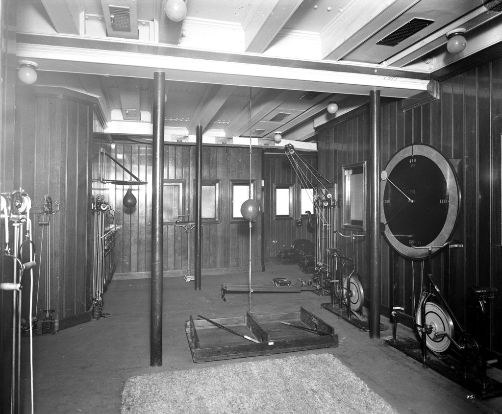 Detail of Second Class Gymnasium on the 'Aquitania' (1914) by Bedford Lemere & Co.
