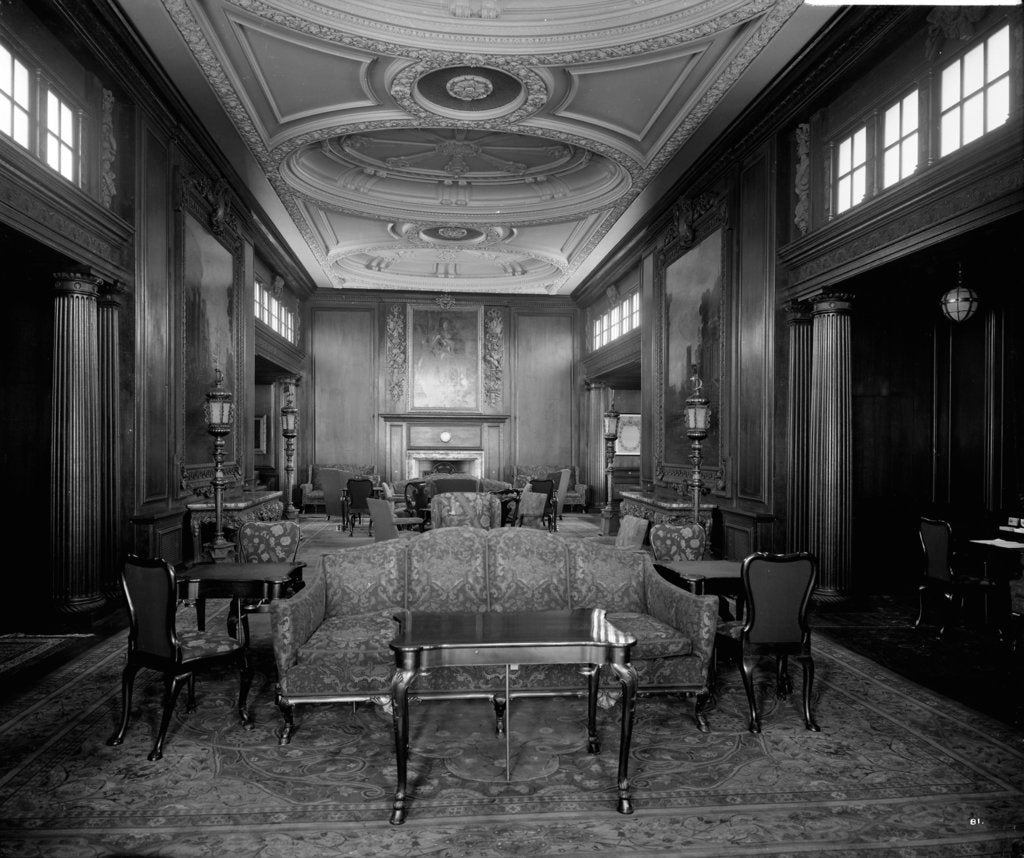 Detail of First Class Smoking Room on the 'Aquitania' (1914) by Bedford Lemere & Co.