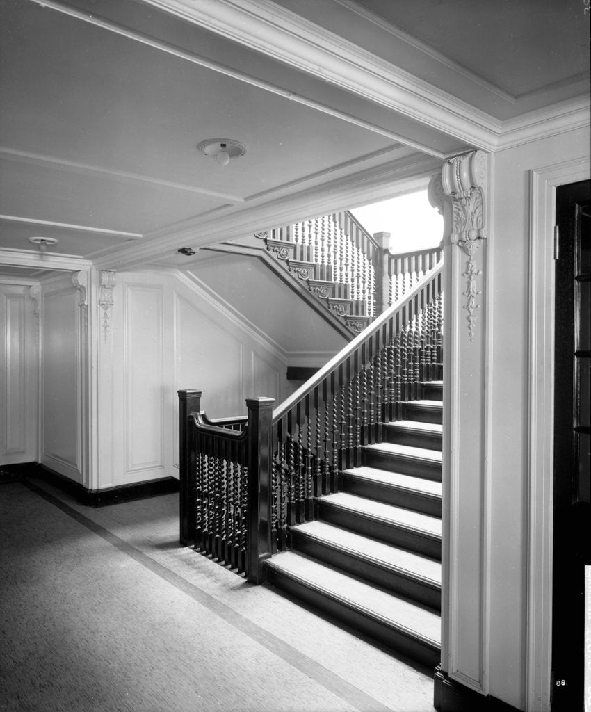 Detail of First Class Secondary Staircase on the 'Aquitania' (1914) by Bedford Lemere & Co.