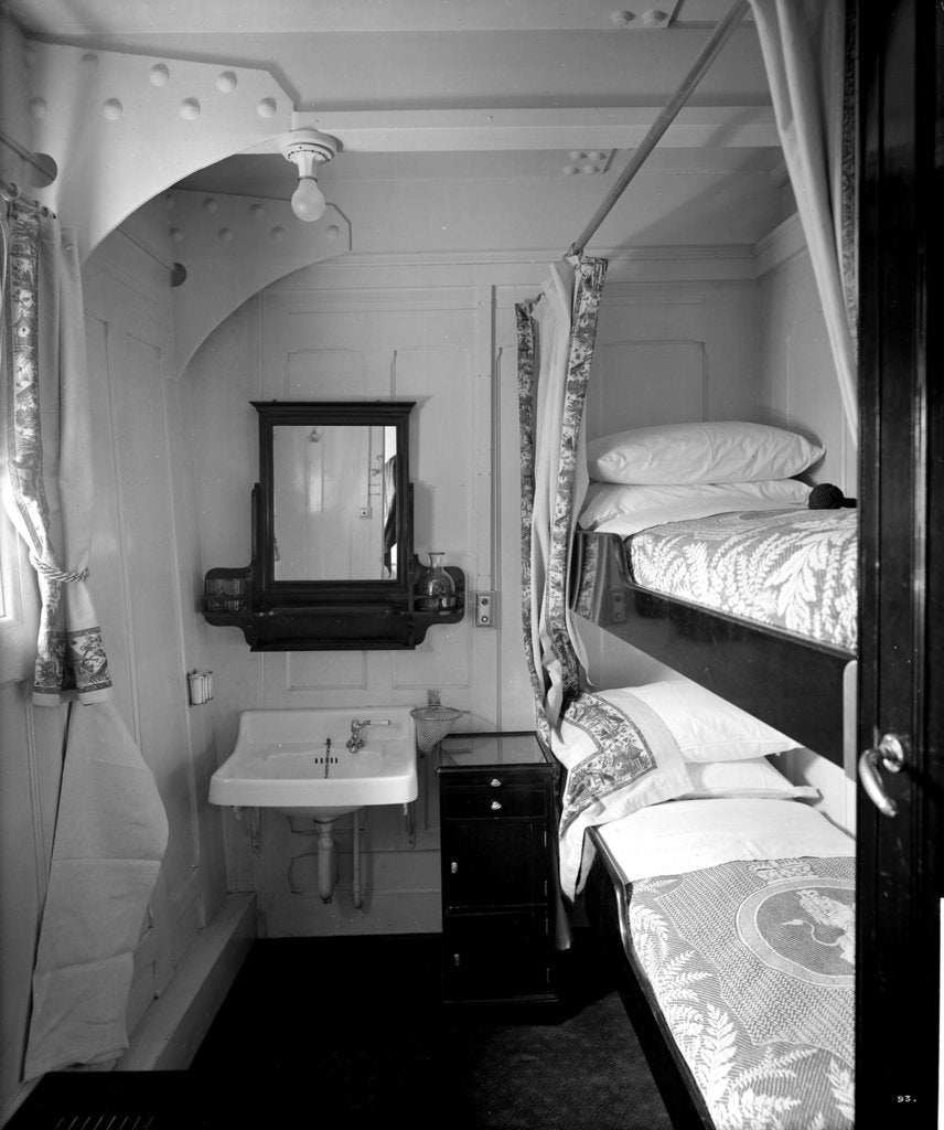 Detail of Second Class stateroom on the 'Aquitania' (1914) by Bedford Lemere & Co.