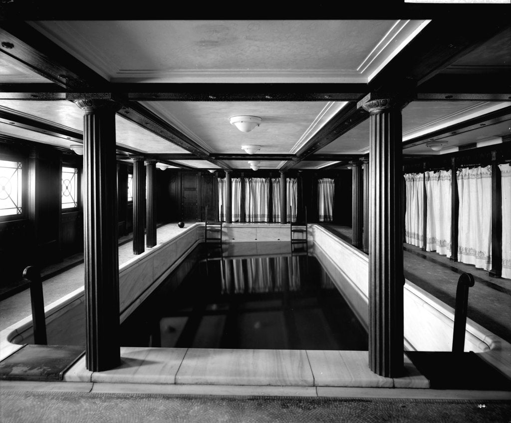 Detail of First Class Swimming Bath on the 'Aquitania' (1914) by Bedford Lemere & Co.