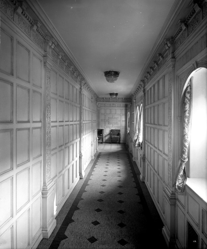 Detail of Corridor to the First Class Grill Room on the 'Aquitania' (1914) by Bedford Lemere & Co.