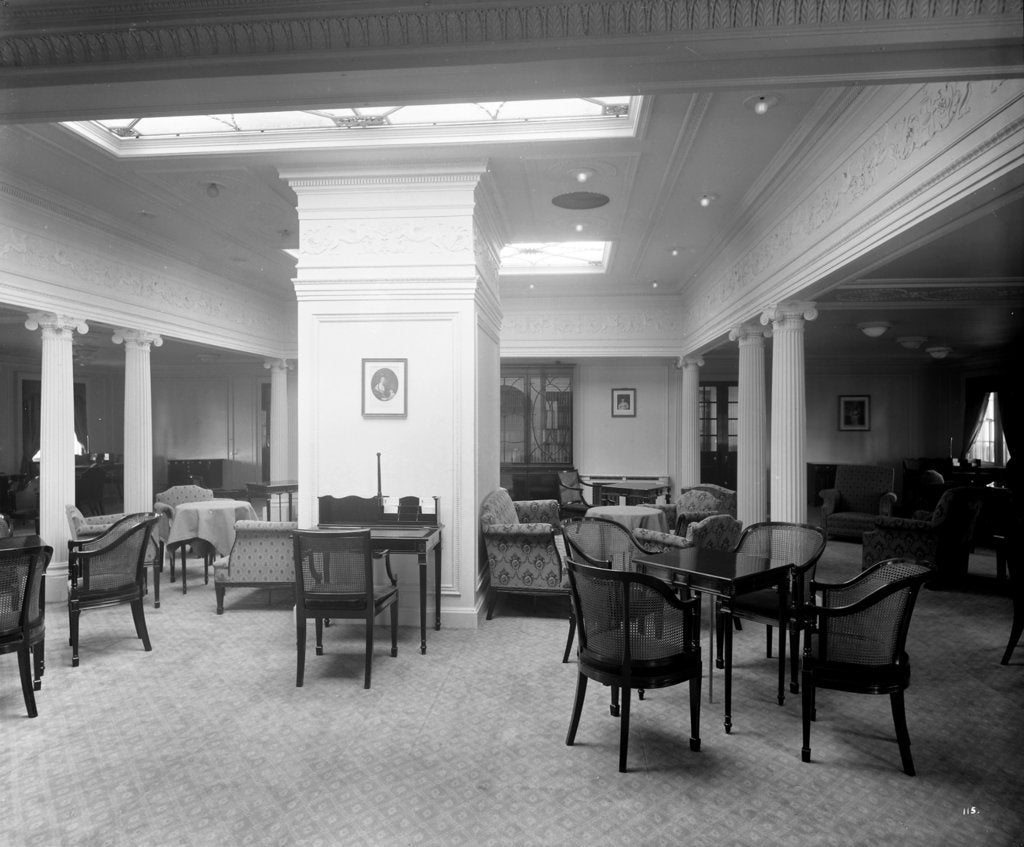 Detail of Second Class Drawing Room on the 'Aquitania' (1914) by Bedford Lemere & Co.