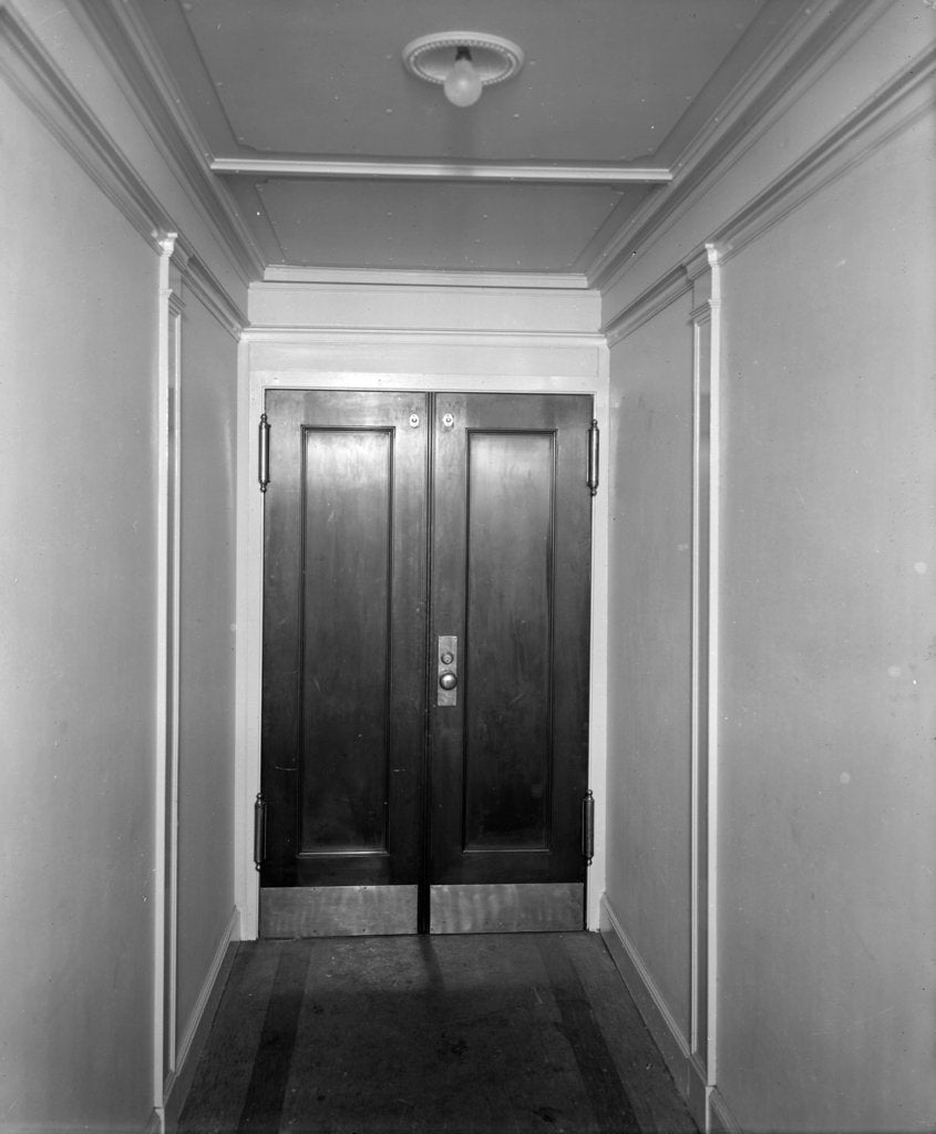 Detail of Doors in a corridor on the 'Aquitania' (1914) by Bedford Lemere & Co.