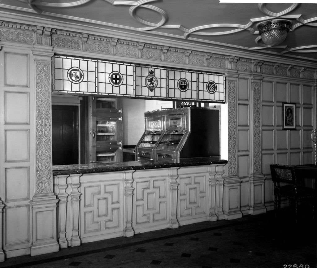 Detail of Serving window in the First Class Grill Room on the 'Aquitania' (1914) by Bedford Lemere & Co.