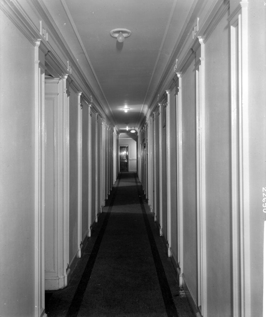 Detail of Corridor in First Class accommodation on the 'Aquitania' (1914) by Bedford Lemere & Co.