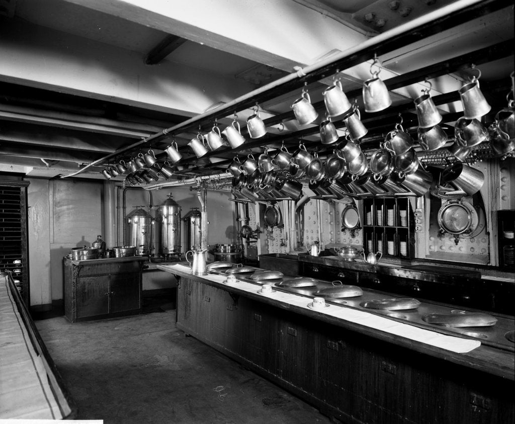 Detail of Second Class Pantry on the 'Adriatic' (1906) by Bedford Lemere & Co.