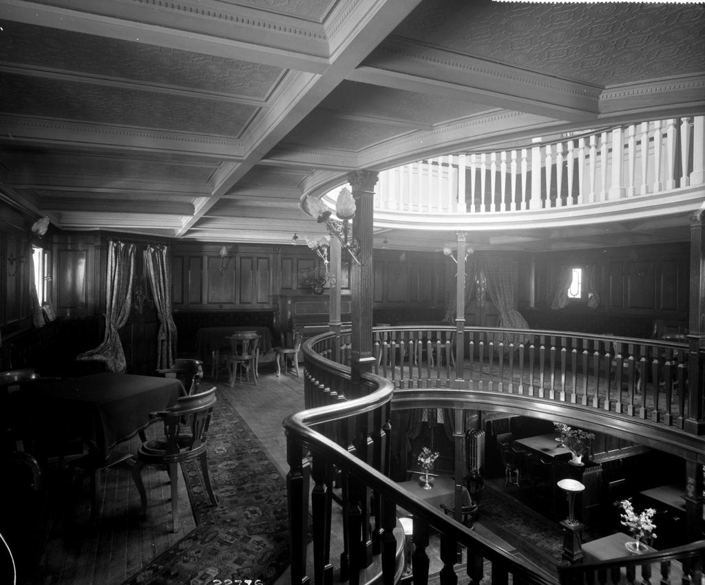 Detail of First Class Music and Recreation Room on the 'Highland Brae' (1910) by Bedford Lemere & Co.