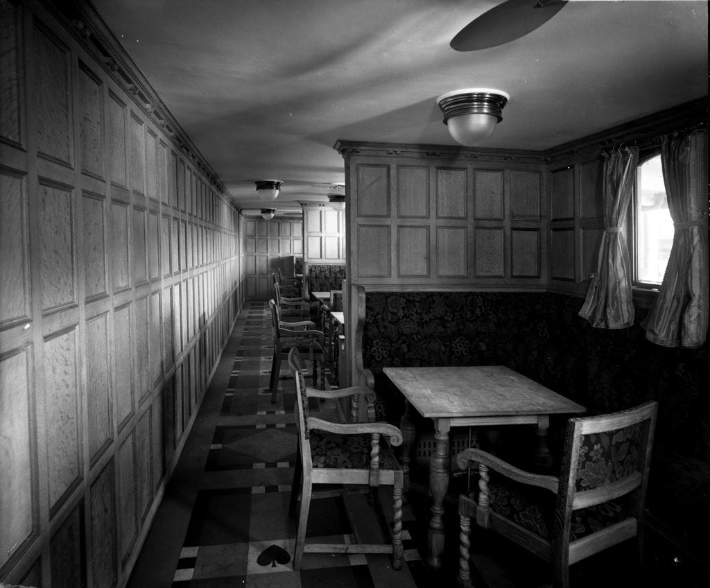 Detail of Cabin Class Card Room on the 'Missanabie' (1914) by Bedford Lemere & Co.