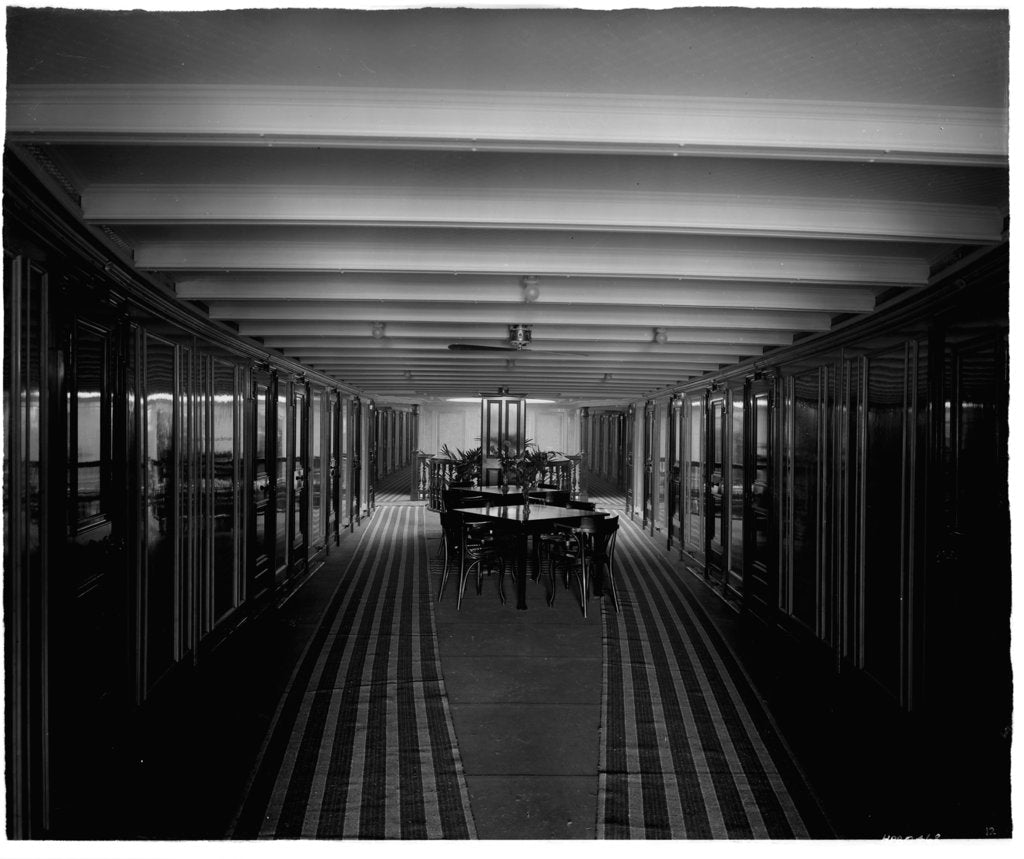 Detail of Promenade Deck on the 'Ciudad de Buenos Aires' (1914) by Bedford Lemere & Co.