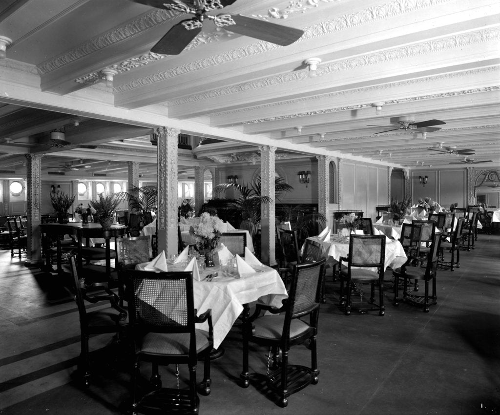 Detail of First Class Dining Saloon on the 'Essequibo' (1914) by Bedford Lemere & Co.