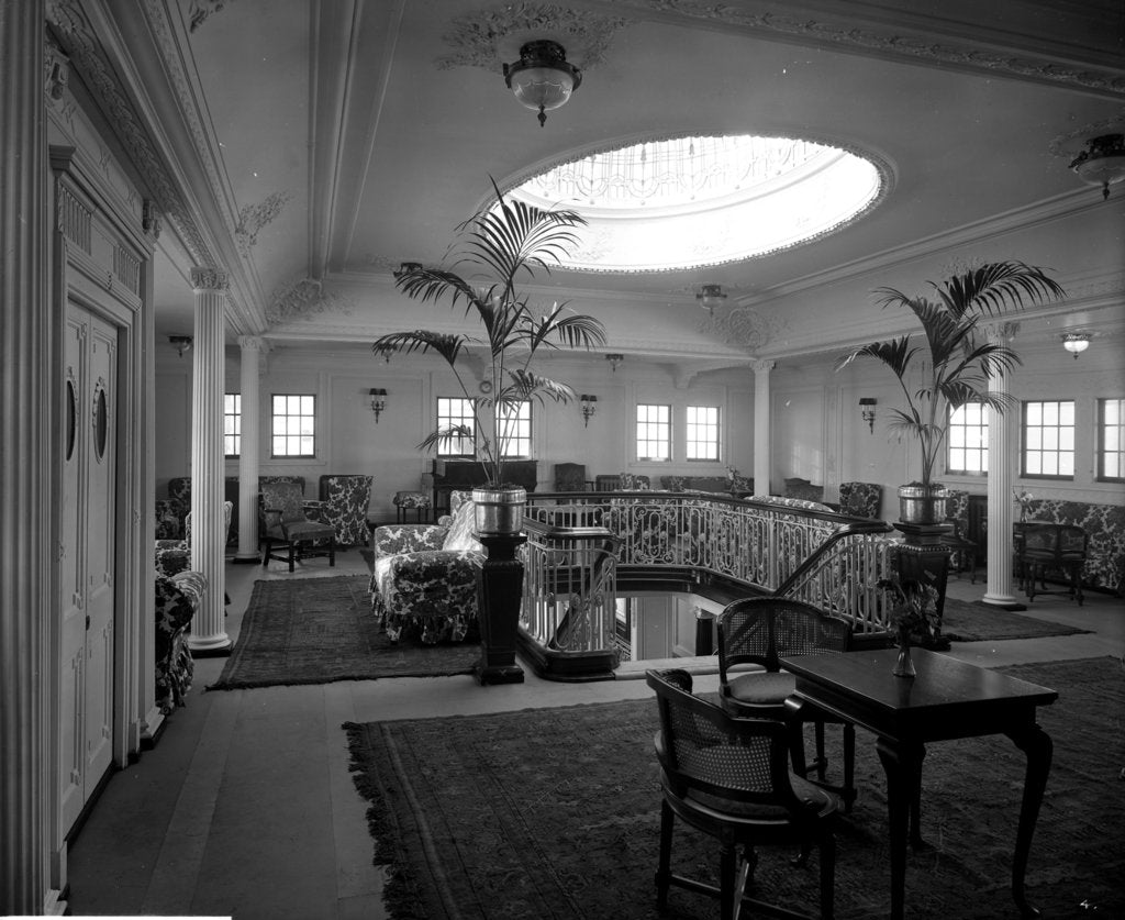 Detail of First Class Lounge on the 'Essequibo' (1914) by Bedford Lemere & Co.