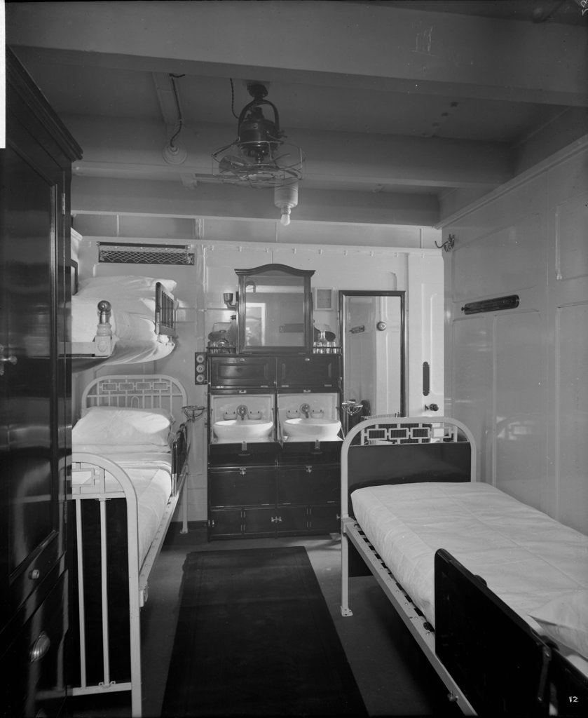 Detail of Stateroom on the 'Essequibo' (1914) by Bedford Lemere & Co.