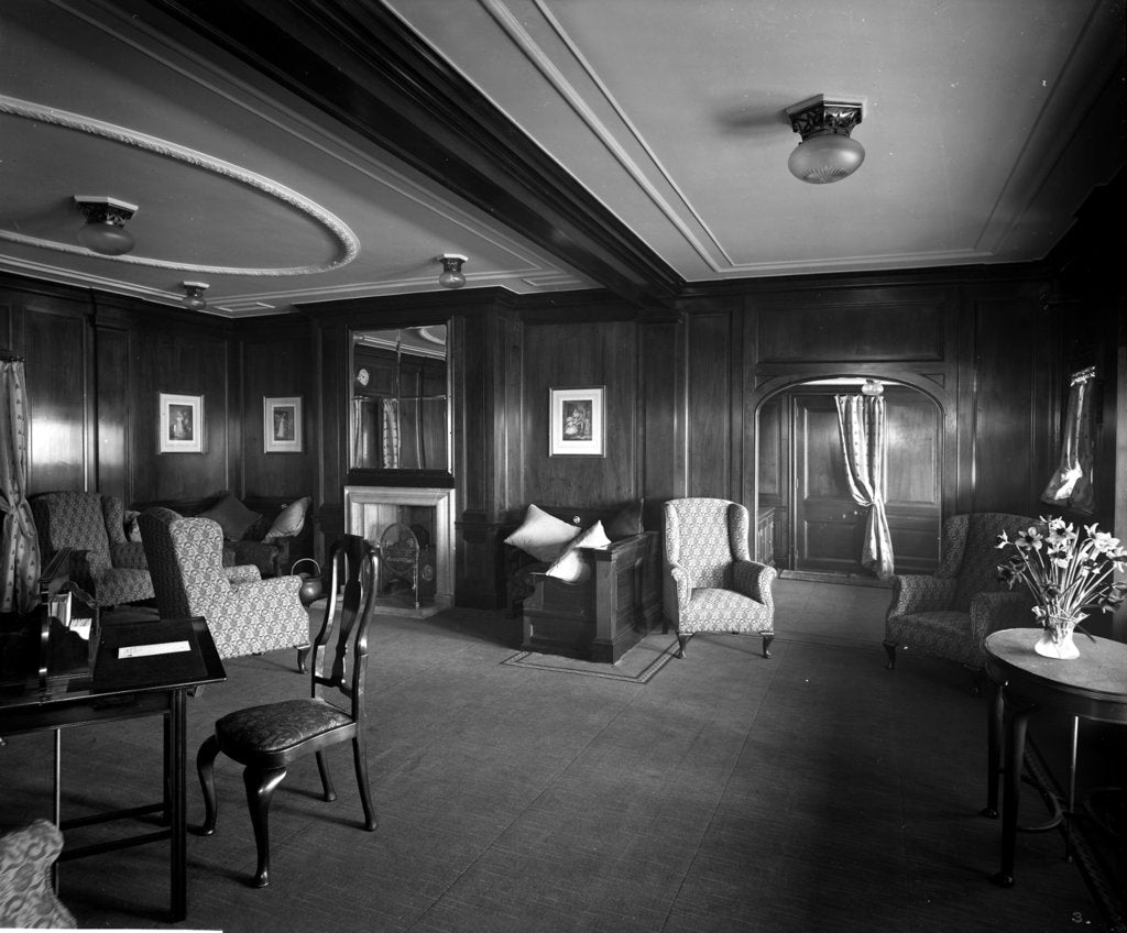 Detail of Cabin Class Drawing Room on the 'Metagama' (1915) by Bedford Lemere & Co.