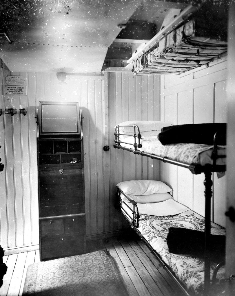 Detail of Third Class cabin on the 'Niagara' (1913) by Bedford Lemere & Co.