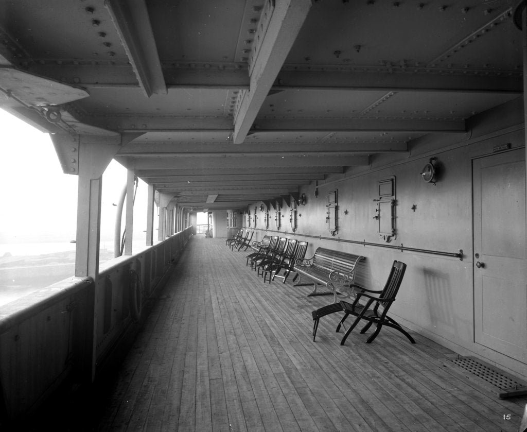 Detail of Cabin Class Promenade on the 'Melita' (1918) by Bedford Lemere & Co.