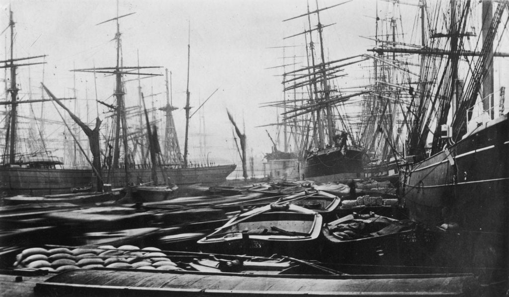 Detail of The South West India Dock, London, circa 1880 by unknown