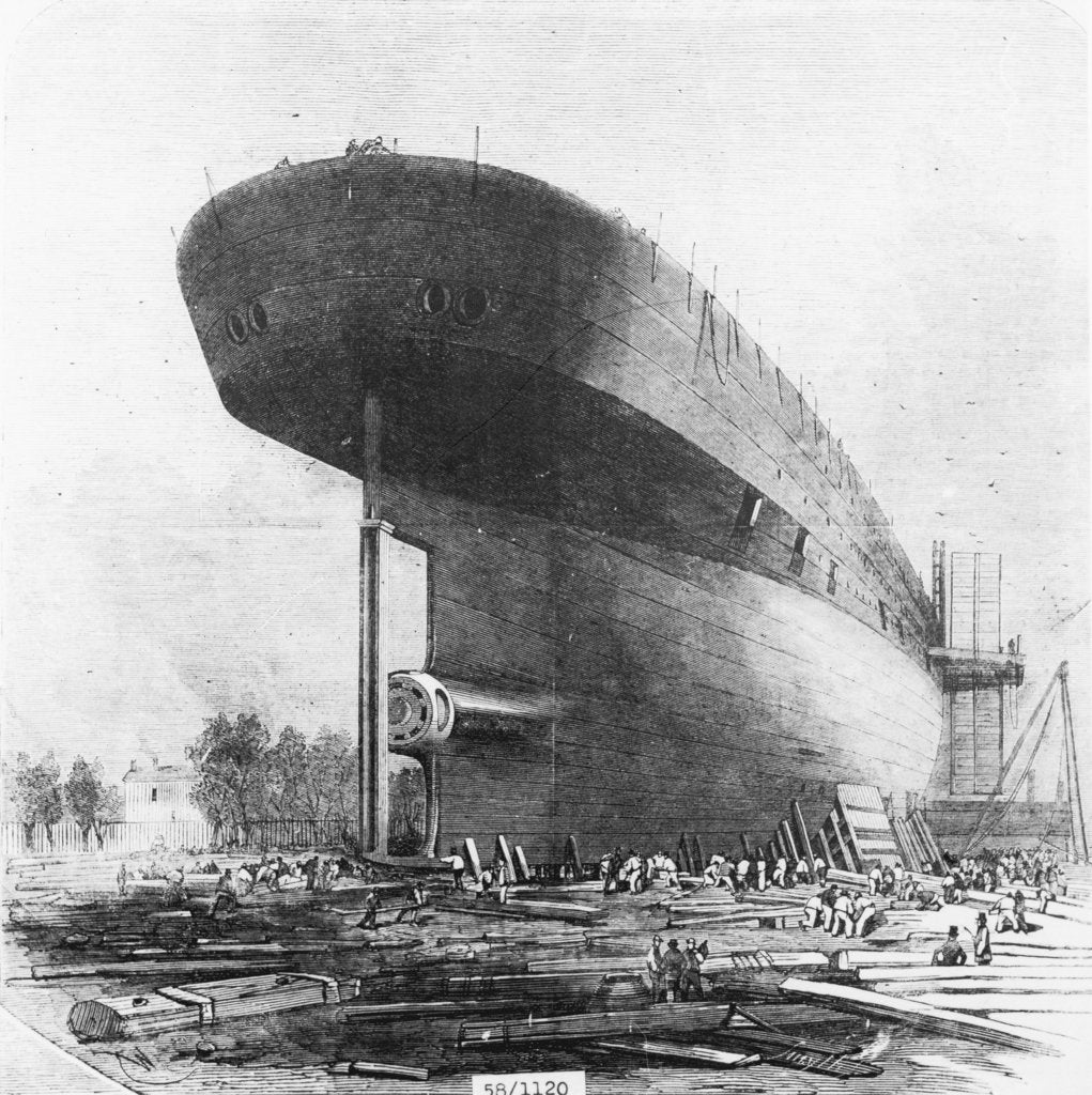 Detail of View of Brunel's 'Great Eastern' prior to her 1858 launch by unknown