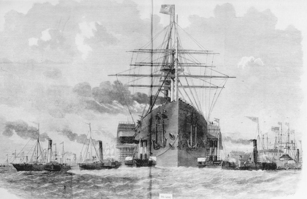 Detail of Brunel's 'Great Eastern' (1858) rounding Blackwall Point, 1859 by unknown