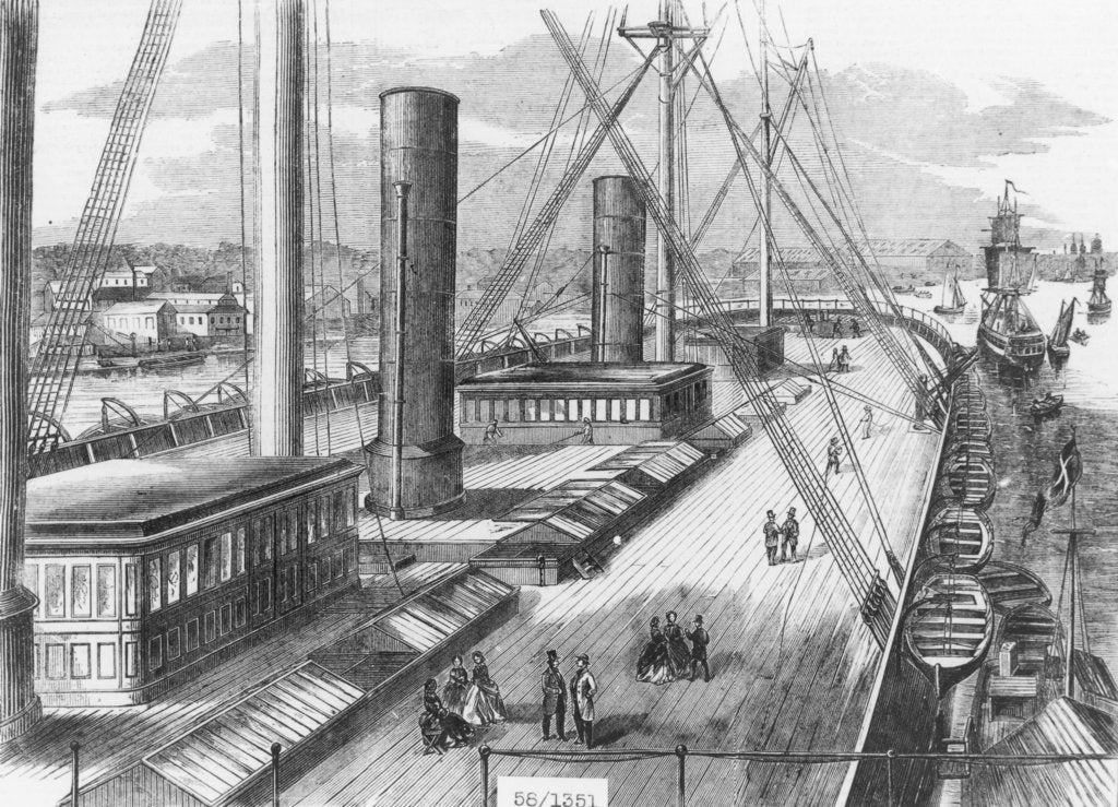 Detail of View of Brunel's 'Great Eastern' (1858) from one of the paddle boxes looking astern by unknown