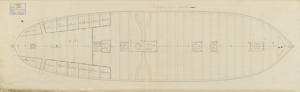 Lower deck plan of ship 'Endymion' (Br, 1797)